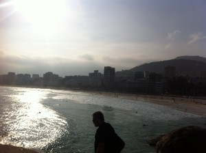 The coast along Ipanema Beach.